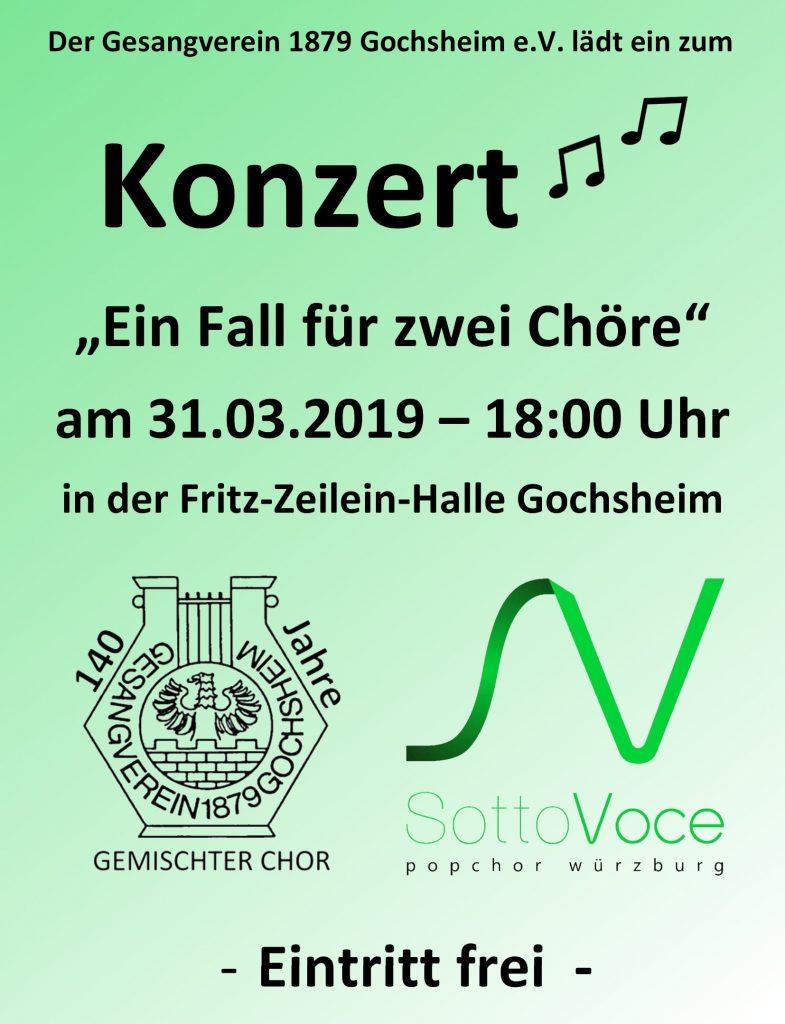 """Plakat zum Konzert """"Ein Fall für zwei Chöre"""" in Gochsheim"""
